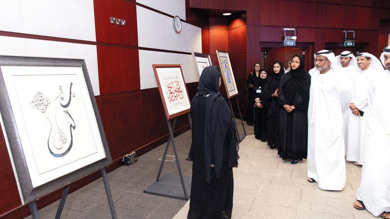 جانب من فعاليات الحفل الذي نظمته الهيئة العامة للطيران المدني بمقر جامعة زايد في دبي.  تصوير: أحمد عرديتي