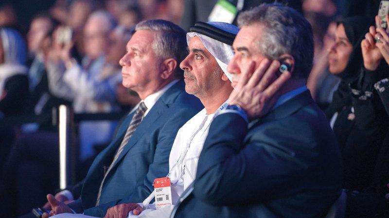 سيف بن زايد أثناء افتتاح قمة «أقدر» في موسكو. من المصدر