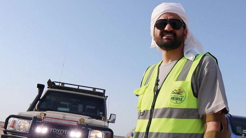 علي الشمري: «(إنقاذ الإمارات) لا يتلقى أي دعم مالي، والخسائر خلال عمليات الإنقاذ يتحملها الأعضاء». تصوير اسامة ابو غانم