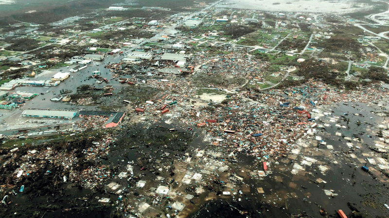 صورة جوية تُظهر مشاهد الدمار الكارثية لإعصار «دوريان» في البهاما. رويترز