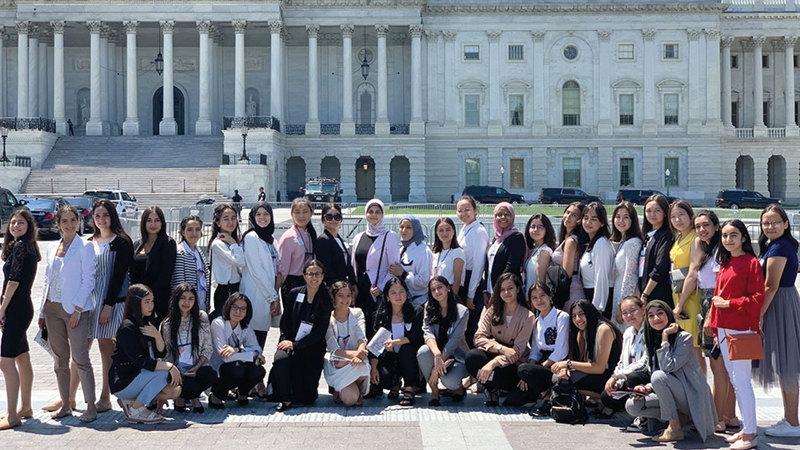 شهد مصطفى شاركت في جلسة في الكونغرس الأميركي ممثلة عن مصر.  من المصدر