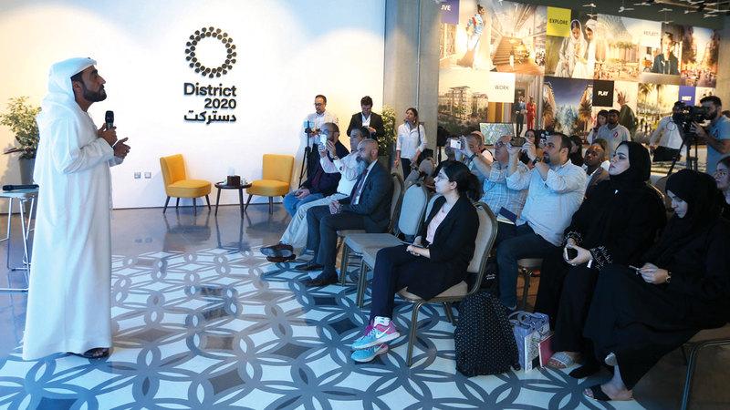 خلال المؤتمر الصحافي بمناسبة إكمال مشروع تثبيت حلول الشبكات الرقمية في أجنحة المعرض. من المصدر
