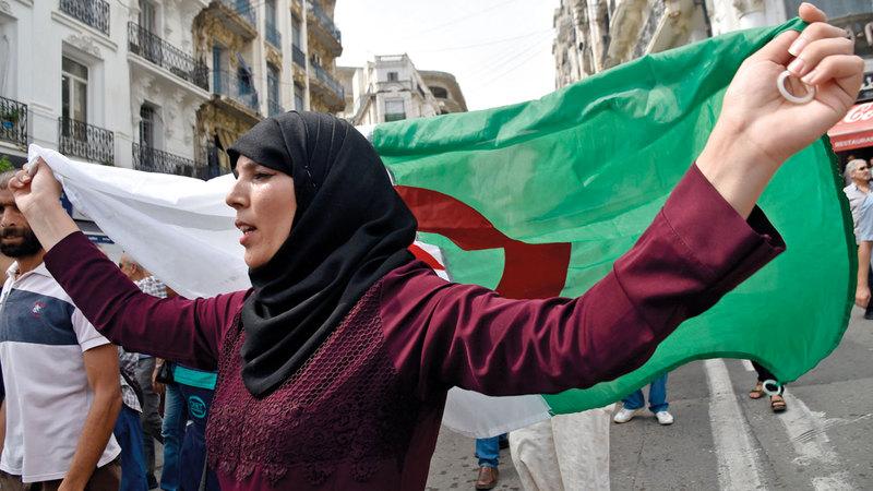 جانب من احتجاجات في العاصمة الجزائر. أ.ف.ب