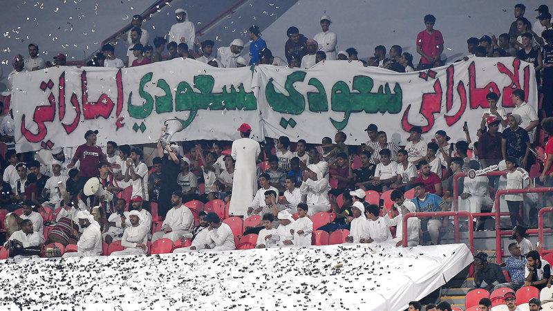 الجولة الأولى من دوري الخليج العربي، احتفلت باليوم الوطني السعودي. تصوير: إريك أرازاس