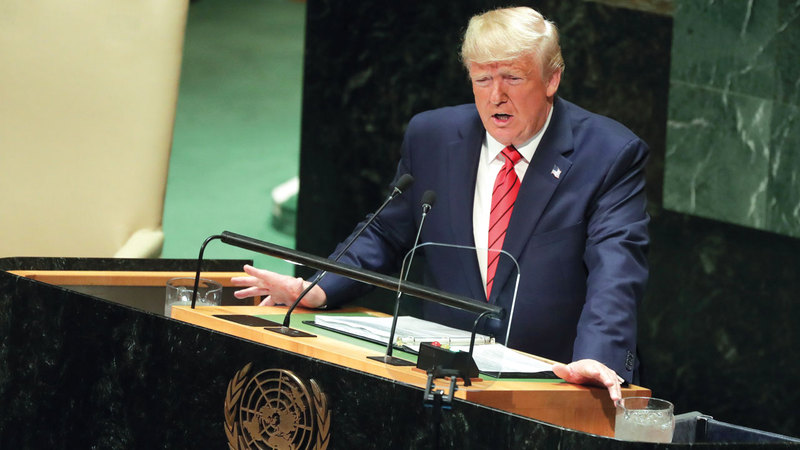 الرئيس الأميركي دونالد ترامب ندّد أمام قادة دول العالم بـ«تجاوزات» بكين. أرشيفية
