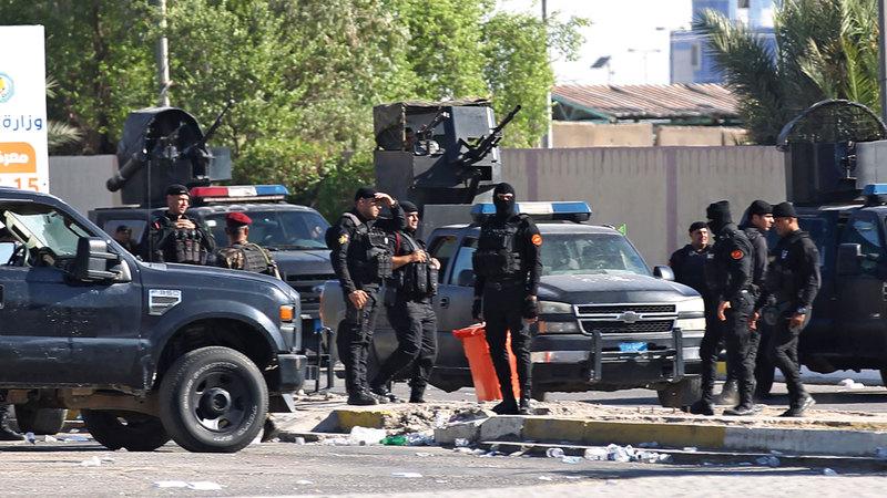 قوات الأمن تتمركز وسط بغداد لصد المتظاهرين. أ.ف.ب