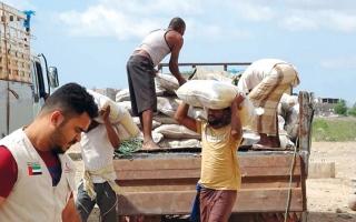 الصورة: الإمارات تطلق حملة إغاثة في عدن وتسيّر قوافـل غـذائية إلى الحديدة