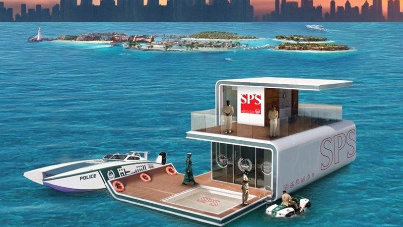 شرطة دبي أطلقت أخيراً أول مركز شرطة عائم في العالم. أرشيفية