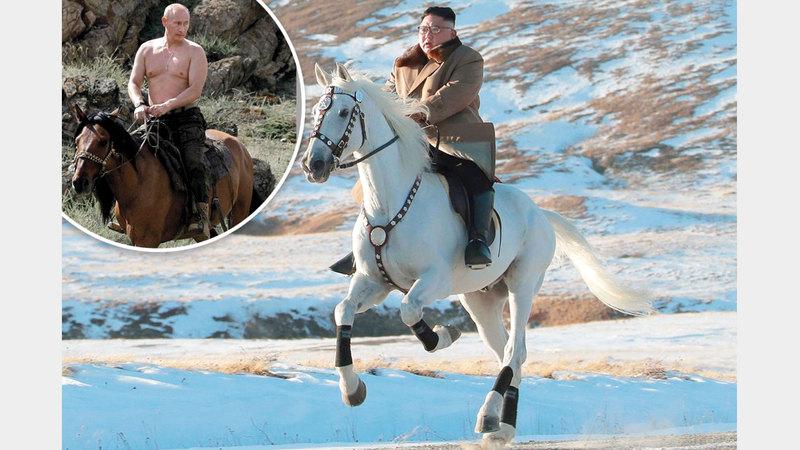 كيم يحب ركوب الخيل.. وفي الصورة بوتين في براري سيبيريا. رويترز