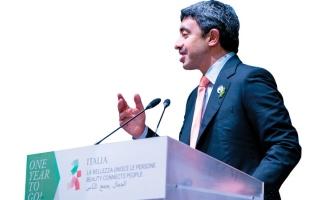 الصورة: عبدالله بن زايد للعالم من إيطـاليا: حيّاكم في «إكسبو 2020 دبي»