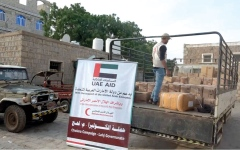 الصورة: شحنة أدوية من الإمارات لمستشفى ردفان العام بلحج