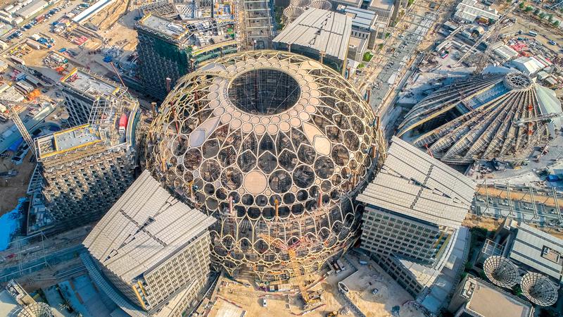 قبة ساحة الوصل تمثل أبرز معلم لـ «إكسبو 2020 دبي».  تصوير: باتريك كاستيلو