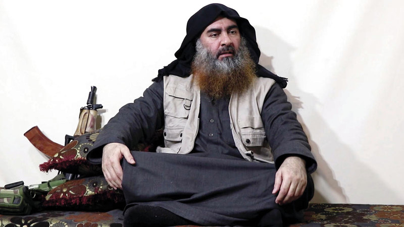 البغدادي فجّر نفسه بحزام ناسف مع أطفاله الثلاثة داخل نفق بعد محاصرته.       أ.ب