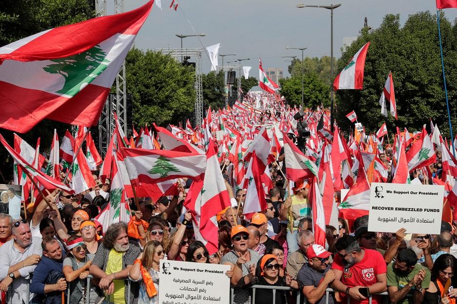 مظاهرات دعم الرئيس اللبناني - أ. ف. ب