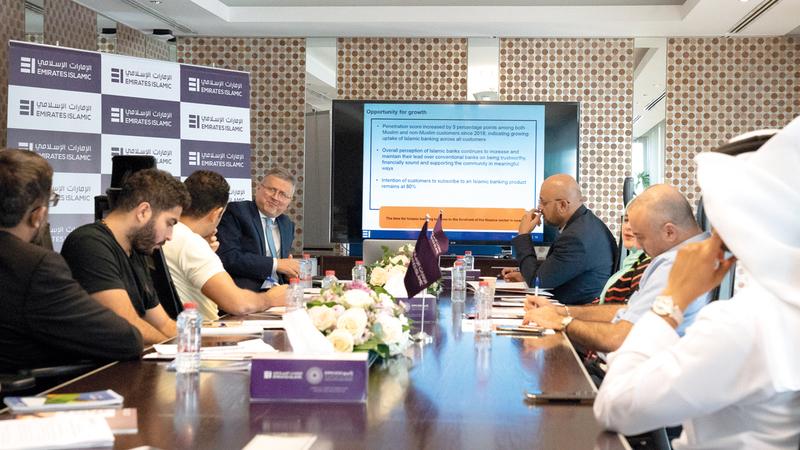 خلال المؤتمر الصحافي لاستعراض مؤشر الصيرفة الإسلامية 2019 في الدولة. من المصدر