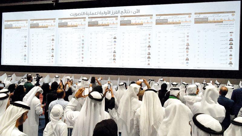 خلال إعلان نتائج الانتخابات في الخامس من أكتوبر الماضي. الإمارات اليوم