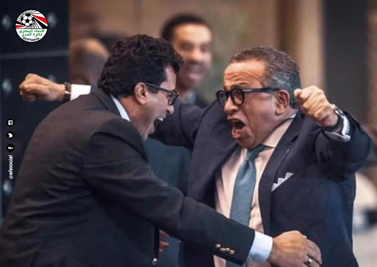 وزير الرياضة المصري ورئيس الاتحاد بعد الفوز