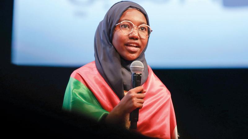 البطلة هديل أنور الزبير .  تصوير: أحمد عرديتي