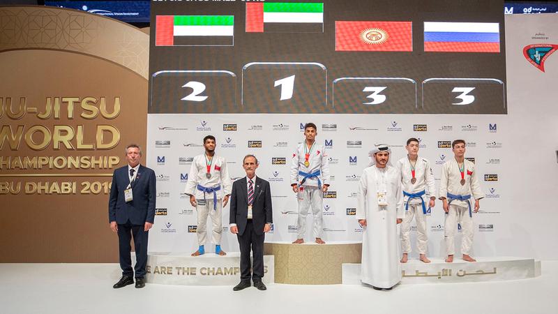 أبطال الإمارات يعتلون منصات التتويج في بطولة العالم للجوجيتسو. من المصدر