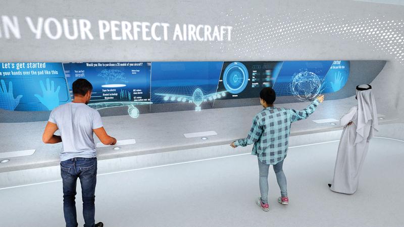 ستتم دعوة زائري جناح «الناقلة» في المعرض للاستفادة من معارفهم في تصميم طائراتهم المستقبلية. من المصدر