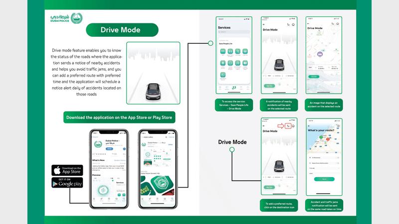 الخاصية تتوافر على تطبيق شرطة دبي على الهواتف. من المصدر