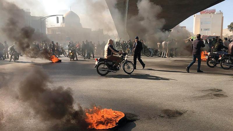 الاحتجاجات احدثت صدمةلدى القيادة الايرانية. غيتي