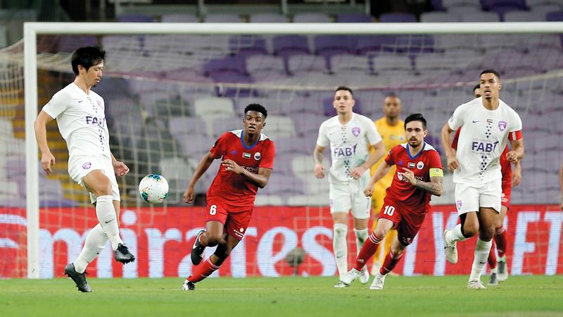 العين فاز على الشارقة 2-1 في ربع نهائي كأس الخليج العربي. تصوير: نجيب محمد