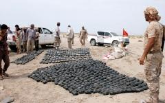 الصورة: «مسام» يُتلف عشرات القذائف غير المنفجرة في صرواح