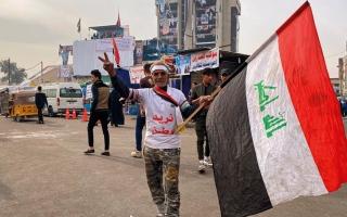 الصورة: مقتل 4 متظاهرين بنيران مسلح في ساحة الوثبة ببغداد