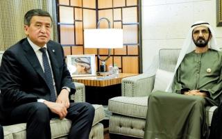 الصورة: محمد بن راشد يستقبل رئيس قيرغيزستان