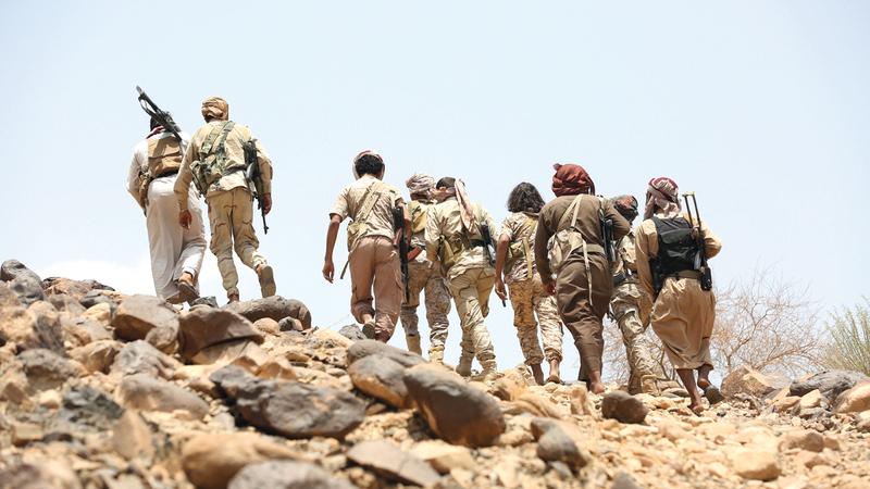 جنود يمنيون في منطقة المخدرة بمحافظة مأرب. رويترز