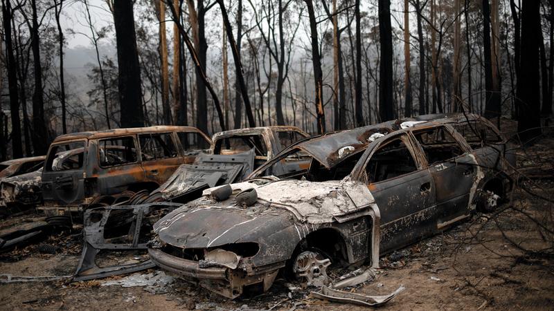 سيارات أتت عليها الحرائق في قرية موجو. رويترز