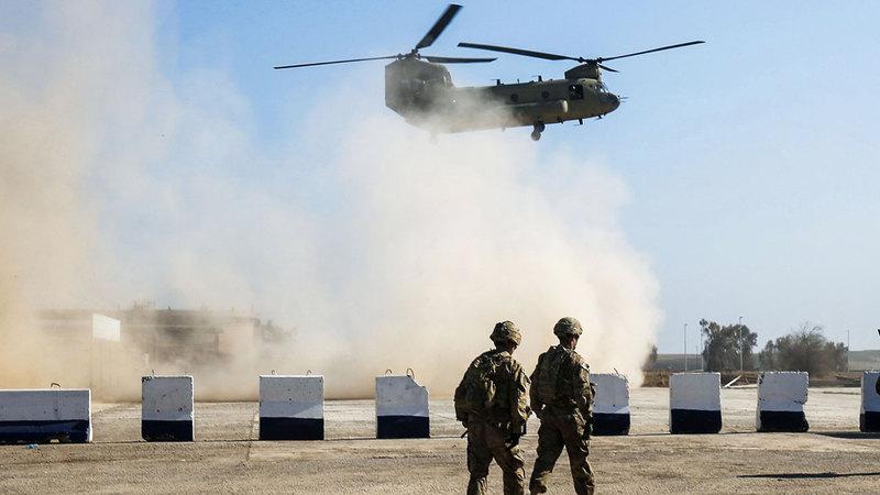 مروحية أميركية في العراق ضمن القوات التي ظلت لأغراض التدريب بعد الانسحاب عام 2011. أ.ف.ب