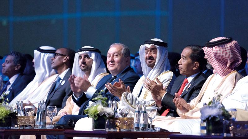محمد بن زايد خلال افتتاح فعاليات دورة أسبوع أبوظبي للاستدامة 2020.  وام