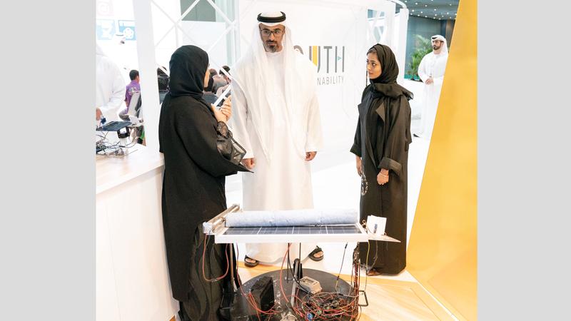خالد بن محمد بن زايد خلال إطلاق منصة «شباب من أجل الاستدامة».  وام