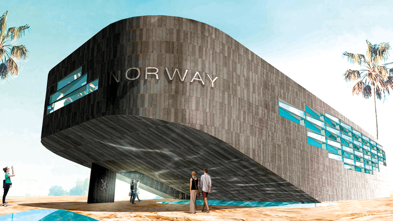 الجناح يستلهم تراث الدولة الإسكندنافية البحري.  من المصدر