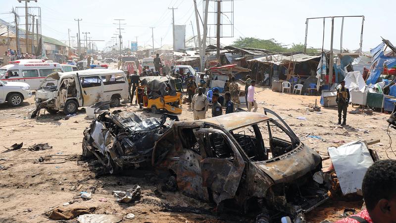 منظر عام للتفجير الذي نفذته حركة الشباب في مقديشو أواخر ديسمبر 2019. رويترز