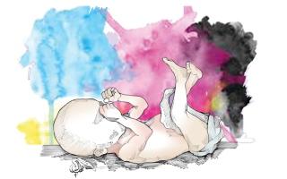 الصورة: «أبومحمد» يعجز عن سداد كلفة عملية ولادة طبيعية لطفله