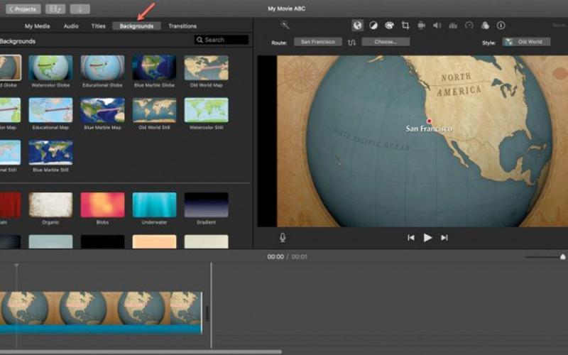 الصورة: إضافة الخرائط المتحركة كخلفية للفيديوهات في iMovie