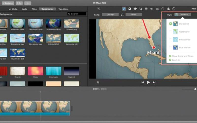 الصورة: إعادة ضبط مسار الرحلات في الخرائط المتحركة لتطبيق iMovie