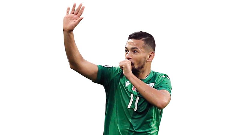 ريكاردو مينديز سجل هدف خورفكان الثمين. تصوير: نجيب محمد