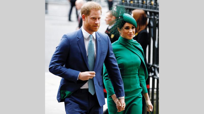 الأمير هاري وزوجته ميغان ماركل.  رويترز