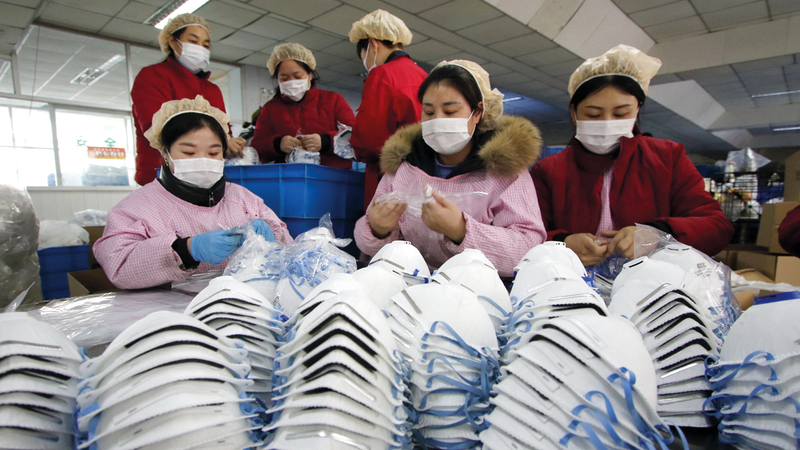 الصين مصدر رئيس للكمامات في دول الشرق الأوسط. أرشيفية