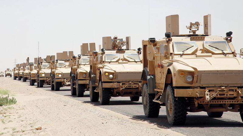 الجيش اليمني مسنوداً بالتحالف تمكن من طرد الميليشيات من مواقع عدة في مأرب. أ.ف.ب