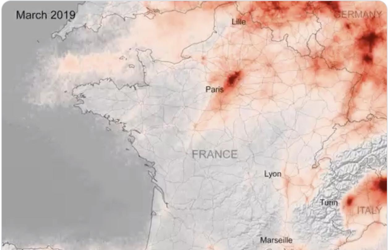 درجة التلوث في شمال إيطاليا وأوروبا 2019