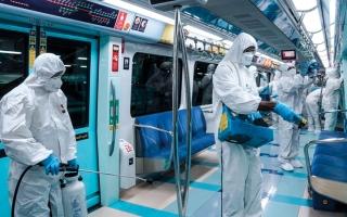الصورة: تعقيم يومي لوسائل المواصلات العامة في دبي