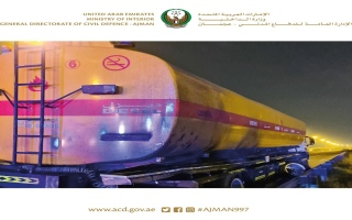 الدفاع المدني عجمان يسيطر على حادث حريق صهريج ديزل سعة 10000 جالون