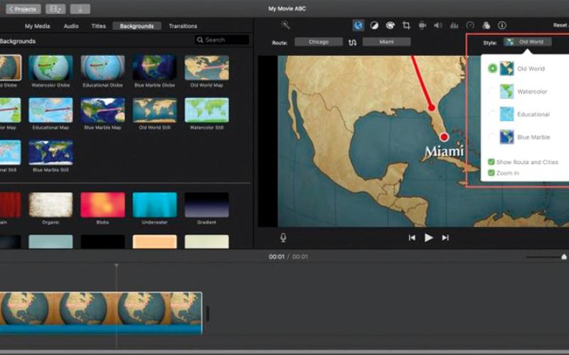الصورة: خيارات الضبط الإضافية للخرائط المتحركة في iMovie
