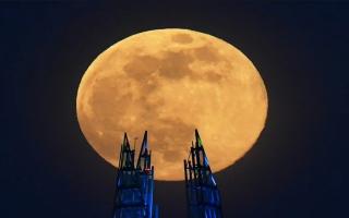 الصورة: بالصور.. قمر أبريل العملاق الوردي