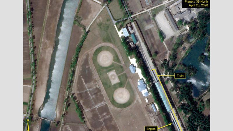 صورة بالقمر الاصطناعي تُظهر قطار كيم في وونسان. أ.ب